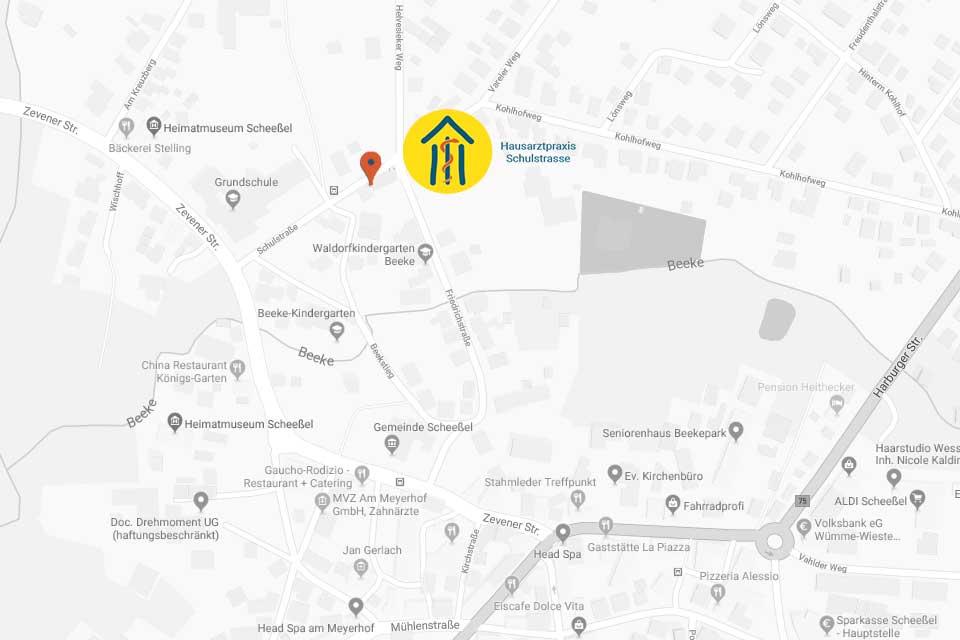 Karte Hausarztpraxis Schulstrasse